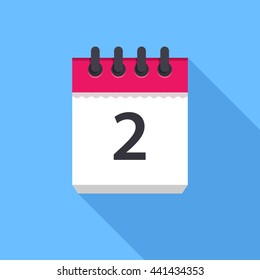 Calendar icon. Flat Design vector icon. Calendar on blue background. 2 day