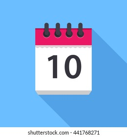 Calendar icon. Flat Design vector icon. Calendar on blue background. 10 day