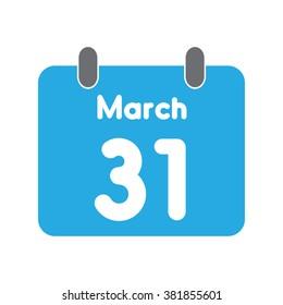 calendar icon flat March 31