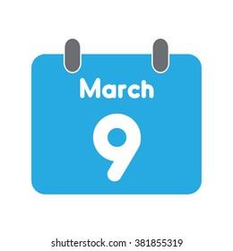 calendar icon flat March 9