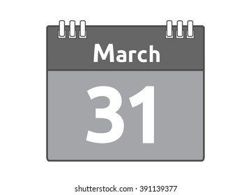 Calendar icon flat on white background. March 31