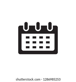 Calendar Icon In Flat Style Vector For Apps, UI, Websites. Black Icon Vector Illustration.