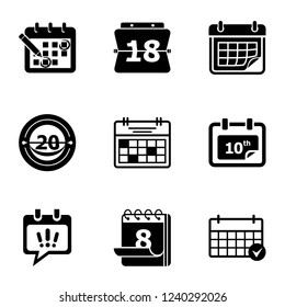 Calendar icon icons set. Simple set of 9 calendar icon vector icons for web isolated on white background