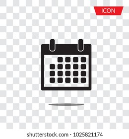 Calendar icon isolated on transparent background.