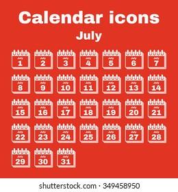 The calendar icon.  July symbol. Flat Vector illustration. Set