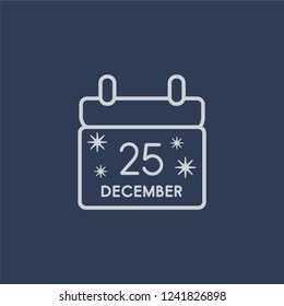 Calendar icon. Calendar linear design concept from Christmas collection. Simple element vector illustration on dark blue background.