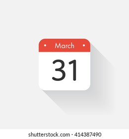 Calendar Icon with long shadow. Flat style. Date,day and month. Reminder. Vector illustration. Organizer application, app symbol. Ui. User interface sign. March.31