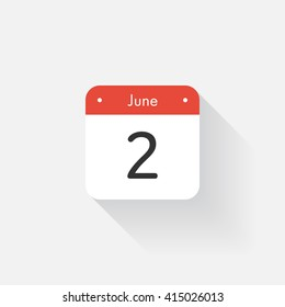 Calendar Icon with long shadow. Flat style. Date,day and month. Reminder. Vector illustration. Organizer application, app symbol. Ui. User interface sign. June. 2