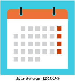 Calendar icon on blue background. Design by Inkscape.