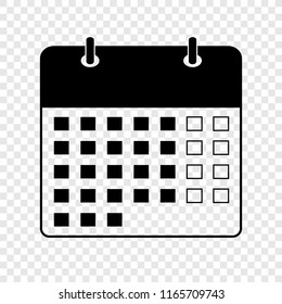 Calendar icon on transparent background