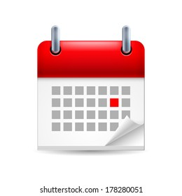Calendar icon with red marked day on first page with folded corner