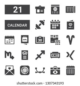 calendar icon set. Collection of 21 filled calendar icons included Calendar, Vector, Music memos, Invitation, Xing, Sagittarius, Scorpio, Aries, Fitness