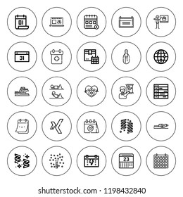 Calendar icon set. collection of 25 outline calendar icons with calendar, business, confetti, event, health, fitness, schedule, worlwide, xing icons. editable icons.