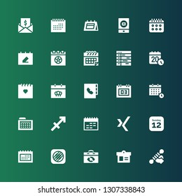 calendar icon set. Collection of 25 filled calendar icons included Fitness, Calendar, Music memos, Schedule, Xing, Sagittarius, Agenda, Event, Taxes