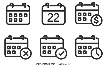 Calendar Icon set, collection of calendar symbols contain payday, Time management, Meeting Deadlines and more, Vector illustration