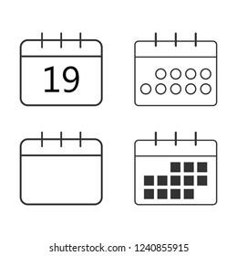 Calendar icon set. Vector illustration, flat design.