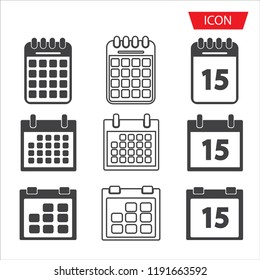 Calendar icon set vector isolated on white background.