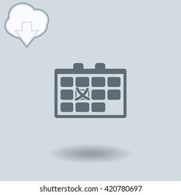 Calendar icon with shadow. Cloud of download with arrow.