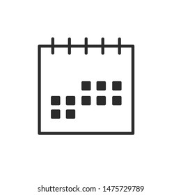 Calendar icon template color editable. Calendar symbol vector sign isolated on white background.