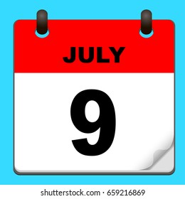 Calendar icon vector. calendar with date JULY 9