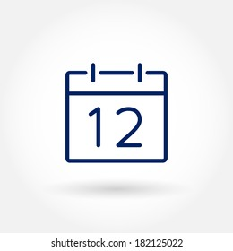 Calendar icon, vector eps10 illustration. Calendar Date. 12. Modern icons for mobile interface. Fine line pixel aligned mobile ui icons with variable line width. Vector illustration.