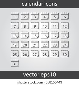 Calendar icon, vector eps10 illustration. Calendar Date.  Modern icons for your work: document, presentation, web and mobile applications, infographic,cover, poster, report, flyer, banner. Numbers
