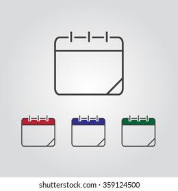 Calendar icon, vector eps10 illustration. Calendar Date.   Set of vector calendar icon.  Vector illustration.  Calendar sign icons. Empty calendar template.
