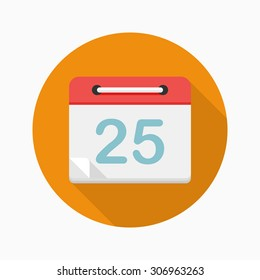 Calendar icon, vector illustration. Flat design style with long shadow,eps10