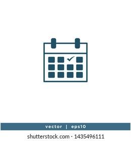 calendar icon vector logo template