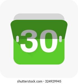 Calendar icon vector. Simple calendar with date 30.