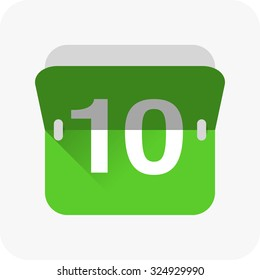 Calendar icon vector. Simple calendar with date 10.