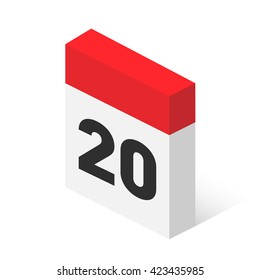 Calendar icon vector. Simple isometric calendar icon with date 20.