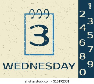 Calendar icon Wednesday on Grunge background. Vector illustration.