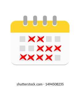 calendar icon with x cross mark appointment day. vector illustration