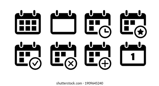 Calendar icons collection. User interface icons for web design. Remider and organizer signs.