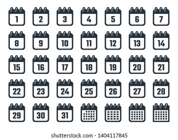 calendar icons with dates from 1 to 31, vector illustration