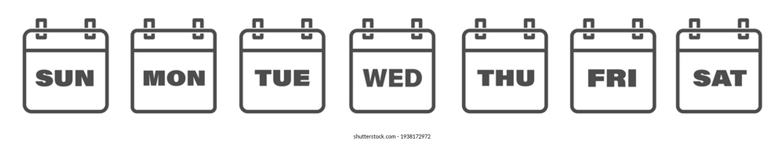 Calendar icons, days of the week line icon set. Sun, Mon, Tue, Wed, Thu, Fri, Sat. Isolated vector illustration.
