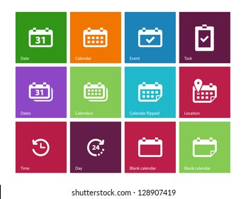 Calendar icons on color background. Vector illustration.