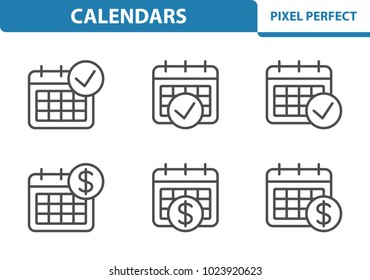 Calendar Icons. Professional, pixel perfect icons optimized for both large and small resolutions. EPS 8 format. 3x size for preview.