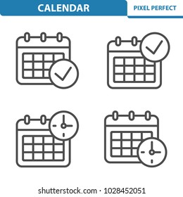 Calendar Icons. Professional, pixel perfect icons optimized for both large and small resolutions. EPS 8 format. 5x size for preview.