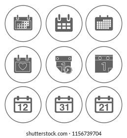 Calendar icons set - time & date sign, symbols and event reminder