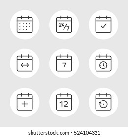 Calendar Icons Vector Set. Time and Seasons Simple Contour Line Style Signs. Vector Symbols of Diary, Organizer, Calender, Week, Months, Year, Date on gray color background