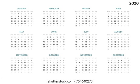 Date And Time Calendar 2020 Calendar 2020 Images, Stock Photos & Vectors | Shutterstock