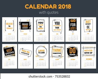 Calendar with inspiring quotes 2018, Bright colorful year template.
