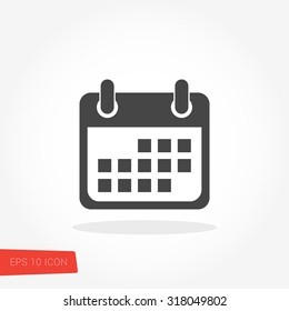 Calendar Isolated Flat Web Mobile Icon / Vector / Sign / Symbol / Button / Element / Silhouette