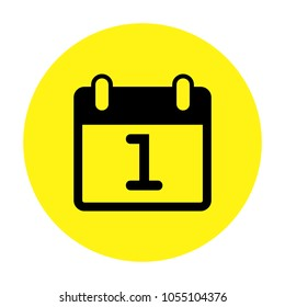 Calendar isolated vector icon on yellow background