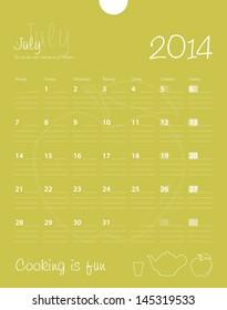Calendar, july 2014. Vector.