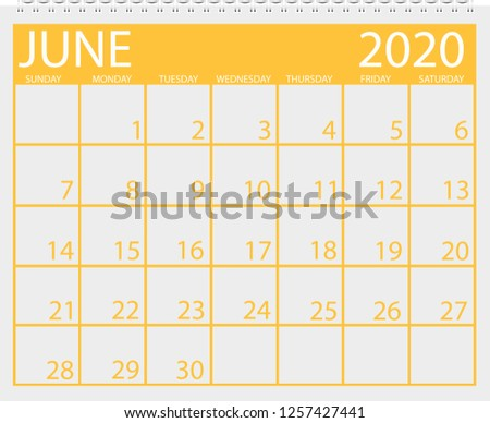 Calendar June 2020 Stock Vector Royalty Free 1257427441 Shutterstock
