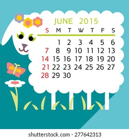 calendar JUNE flat sheep