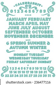 Calendar kit English year, months, seasons, days of the week and numbers